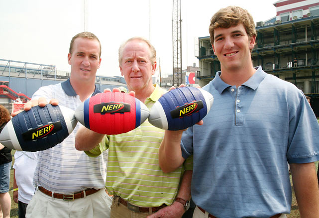 Peyton, Archie and Eli attend the NERF Father's Day Football Throwdown at Chelsea Piers in New York.