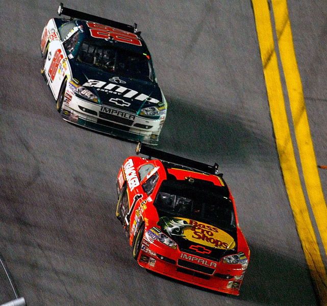 Jamie McMurray edges Dale Earnhardt, Jr. at the finish line, capturing his first-ever Daytona 500 victory.
