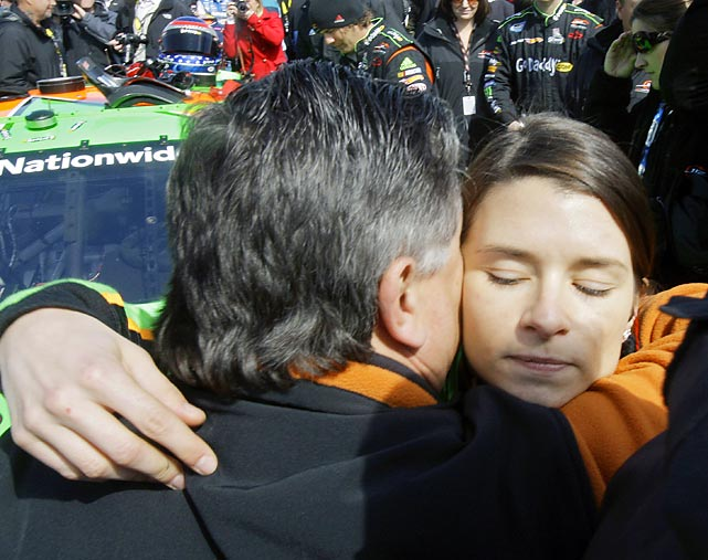Patrick and her father shared a hug and a few words before what represented another landmark event in her racing career.