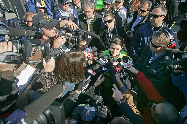Even with the race still going, the media converged on Patrick to get her thoughts about her day.