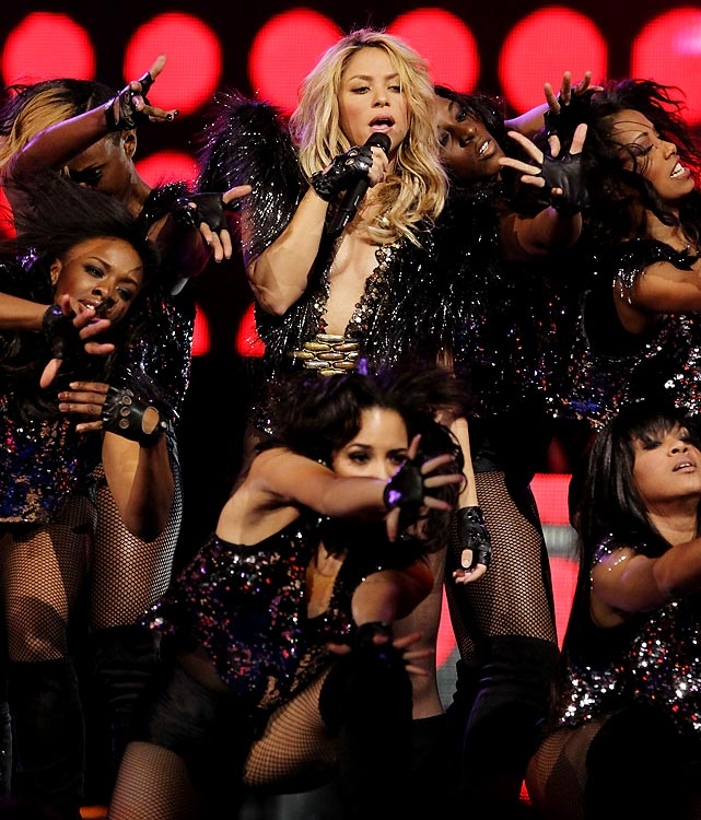 "All eyes were on Shakira at halftime, who performed her new hit ""She Wolf."" Yowza."