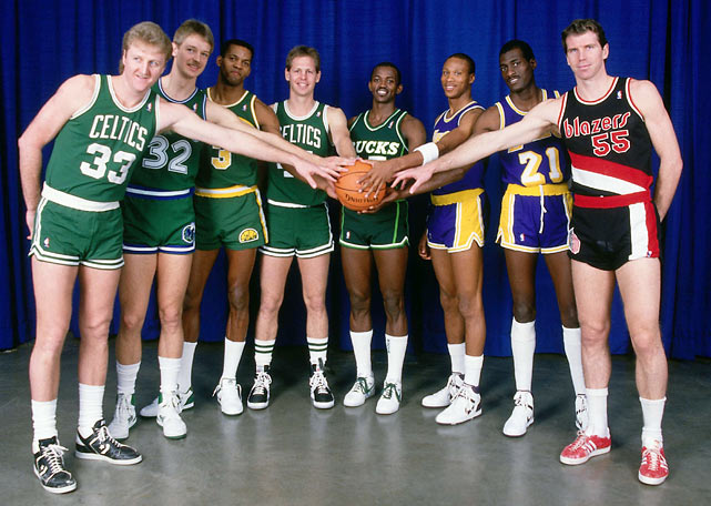 Larry Bird, Detlef Schrempf, Dale Ellis, Danny Ainge, Craig Hodges, Byron Scott, Michael Cooper and Kiki Vandeweghe pose prior to the 1987 contest. Bird captured the second of three straight shootout titles.