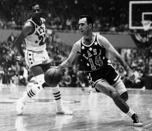 Bob Cousy drives to the basket during the 1951 NBA All-Star Game. Cousy finished with eight points, eight assists and nine rebounds in the East's 111-94 victory.