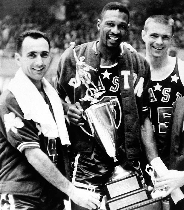 Cousy, Russell and Heinsohn pose with Russell's MVP trophy after the East pulled out a seven-point victory.