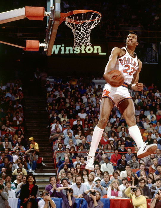 Nance goes for a dunk en route to winning the 1984 slam dunk competition.
