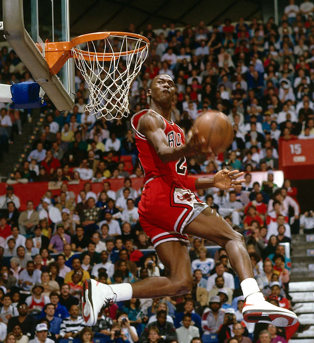 Jordan goes for a dunk during his winning effort in 1987.