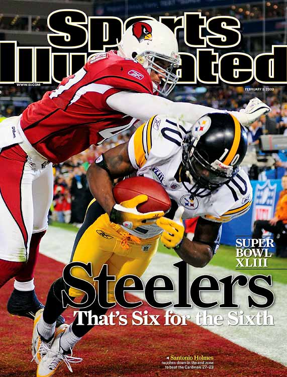 That inexplicable thing called momentum probably never felt so real and fateful as it did on a remarkable 100-yard interception for a touchdown by Steelers NFL defensive MVP James Harrison. It happened on the final play of the first half, turning a likely four-point Cardinals lead into a 10-point edge by the renowned Steelers. It certainly gave everyone watching, all over the world, the feeling that momentum had swung fatefully to the Steelers' sideline. But everyone was wrong. Kurt Warner and Larry Fitzgerald refused to fold, leading the way to a 23-20 edge late in the fourth quarter. And then just as suddenly, Ben Roethlisberger found Santonio Holmes four times in what would be the game-winning drive, including a tip-toeing touchdown reception as Pittsburgh won its second Super Bowl in four seasons, and record sixth.