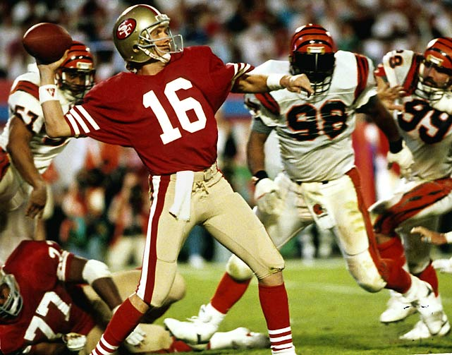 The score was only 3-3 at halftime, but fireworks were in store. After the Bengals went ahead 16-13 on Jim Breech's 40-yard field goal with 3:20 left in the game, Joe Montana saved the 49ers in perhaps the greatest individual moment of his career. The otherworldly cool, efficient quarterback drove his team 92 yards in 11 plays, culminating with a 10-yard TD pass to John Taylor with only 34 seconds left.