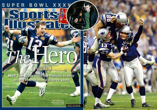 """The furor over Janet Jackson's infamous """"wardrobe malfunction"""" at halftime overshadowed a thriller that started slowly. After a record 25 minutes and 55 seconds of scoreless play, the two teams exchanged 24 points in the final 3:05 of the second quarter, with the Patriots grabbing a 14-10 lead. By the fourth quarter, the score was tied at 29. The contest wasn't settled until there were four ticks left on the clock. Adam Vinatieri's 41-yard field goal gave the Patriots their second championship in three seasons."""