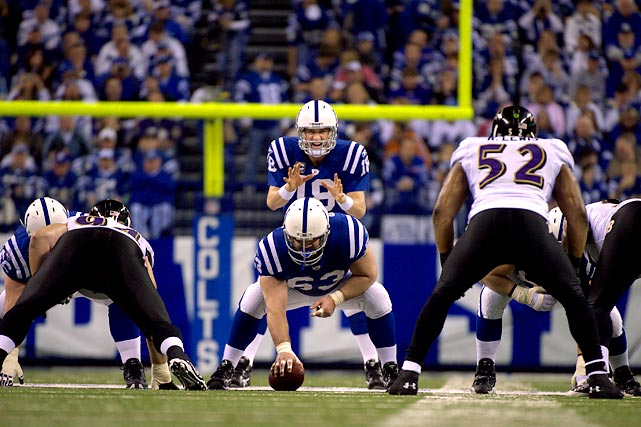 The Colts shut down a red-hot Ravens running attack as Indianpolis advanced to the AFC Championship with a 20-3 victory over Baltimore.  Peyton Manning led the way against a stingy D, completing 30 of 44 passes for 246 yards and two touchdowns.