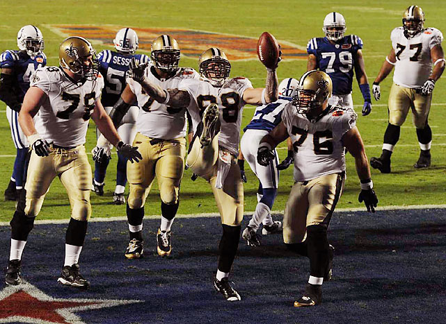 No surprise that the Saints relied on their vaunted passing game to defeat the Colts in Super Bowl XLIV. But when the trivia question is asked years from now as to who scored what proved to be the game-winning touchdown in the season's final game, remember the name Jeremy Shockey. His two-yarder gave the Saints a 22-17 lead, followed by a successful two-point conversion catch by Lance Moore.