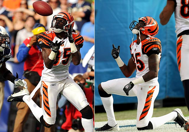 Three days after teammate Chris Henry died from injuries incurred after falling from a truck, Ochocinco refrained from wearing his friend's No. 15 jersey as a tribute, but did pay homage to Henry after catching a 49-yard touchdown pass against the Chargers.