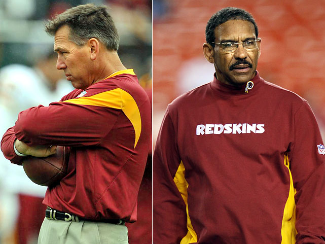 The Washington Redskins may have outdone themselves in 2009. Sitting at 2-4 in mid-October, the team stripped head coach Jim Zorn (far left) of the play-calling duties and handed them to a guy who had been calling bingo numbers at a senior center when the season started.  Truth be told, Sherman Lewis had spent 22 years as an NFL assistant before retiring after the 2004 season.