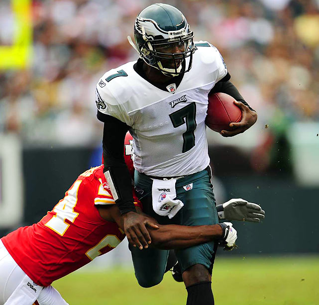 Having served 18 months in prison for his role in running a dogfighting ring, Michael Vick made his return to the NFL in 2009 and played his first game on Sept. 27, against the Kansas City Chiefs. By season's end he had started one game, completed six of 13 passes for 86 yards and one touchdown, and rushed 24 times for 95 yards and two touchdowns.