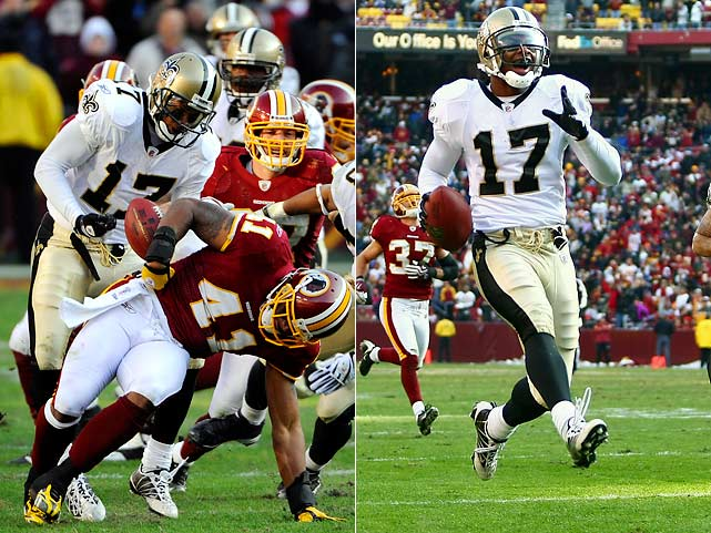 NFL fans could hardly believe what they saw on Dec. 6 when Robert Meachem chased down Redskins defensive back Kareem Moore, ripped away a ball Moore had intercepted, and ran it back 44 yards the other way for a touchdown that tied the game 17-17 at the half.