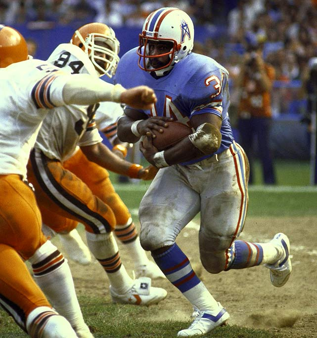 No player in the Super Bowl era has been more bruising, durable and unafraid than the Tyler Rose, which might explain why his great fall came a year earlier than most -- at 29. In 1983, at 28, Campbell rushed for 1,301 yards and 12 touchdowns in just 14 games. A year later he was a mere shell of himself, battered and ultimately traded to the Saints, rushing for just 468 yards and retiring a year later at 30.