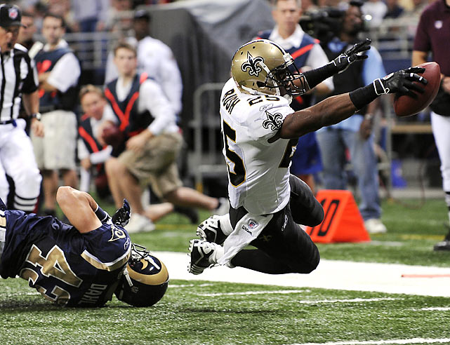 Reggie Bush helped the Saints overcome a sluggish performance by rushing for 83 yards and one touchdown. He also added a 15-yard scoring reception as New Orleans overpowered St. Louis 28-23. New Orleans improved to 9-0 for the first time in club history.