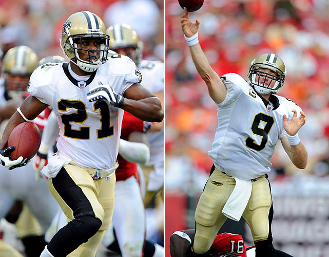 Tampa Bay was no match for the undefeated Saints as Drew Brees threw for three touchdowns and Mike Bell added two scores on the ground in the 38-7 victory.