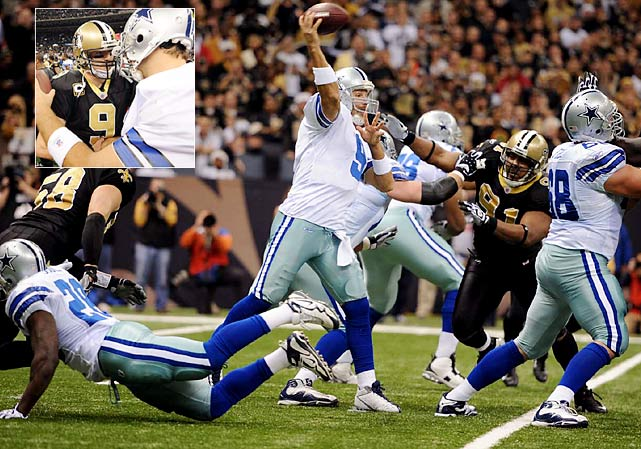 New Orleans' dream of a perfect season came to a crashing halt as Tony Romo threw for 312 yards and a touchdown and Miles Austin added 7 receptions for 139 yards and a touchdown in the Cowboys' 24-17 victory.