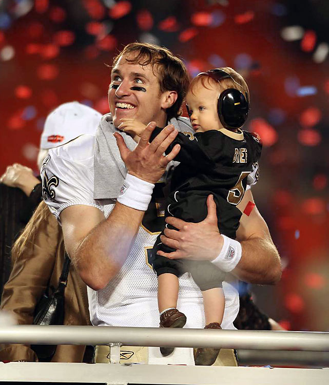 Drew Brees celebrated the moment with his son, Baylen.