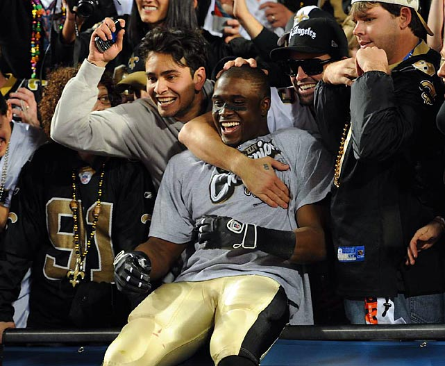 The Saints fans and Reggie Bush celebrated the win.