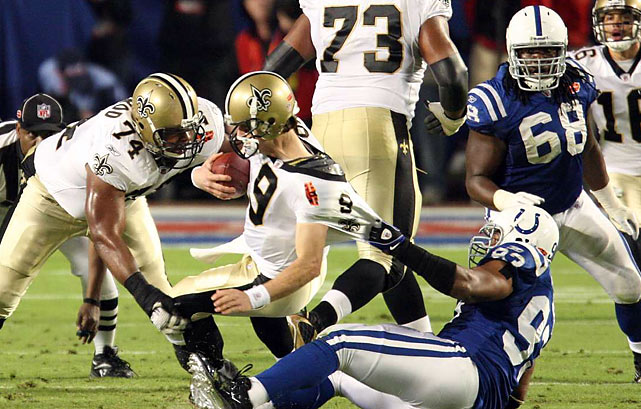 Unfortunately for the Colts, Freeney's sack was his only tackle of the night. Moreover, Indy's pass rush didn't get enough pressure on Brees, who completed 32 of 39 passes for 288 yards and two touchdowns in the 31-17 victory.