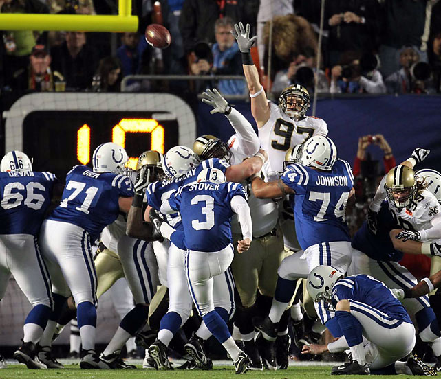 Matt Stover's 38-yard field goal in the first quarter gave the Colts a 3-0 lead.