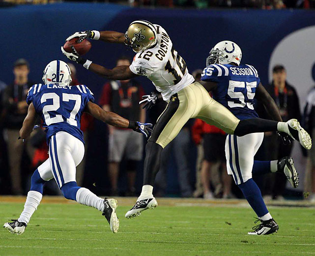 Marques Colston caught seven passes for 83 yards and had the Saints' longest reception of the night, 27 yards.
