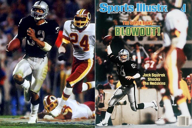 The Redskins were heavily favored after going 14-2, but Raiders running back Marcus Allen made the oddsmakers look dumb while rushing for a Super Bowl-record 191 yards on 20 carries. It was the most lopsided score in Super Bowl history.
