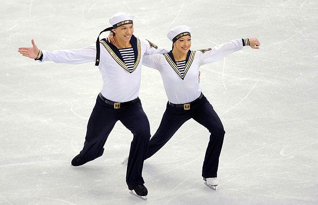 Russia's Ekaterina Bobrova and Dmitri Soloviev.
