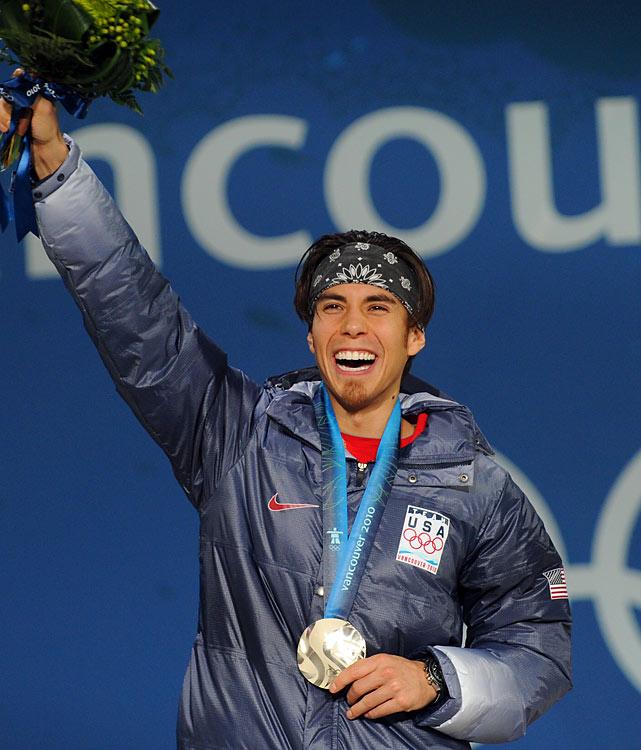 Apollo Anton Ohno of the U.S. displays his silver.