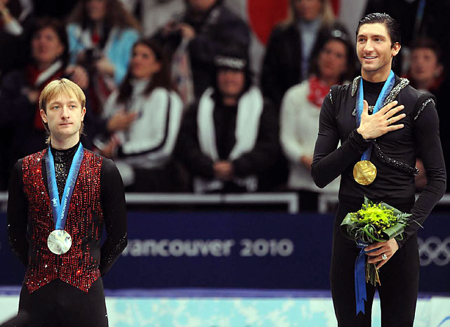 Evan Lysacek of the U.S. (right) with the gold and Evgeni Plushenko of Russia with the silver.