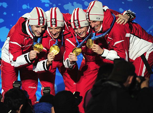 Austrian gold medallists Gregor Schlierenzauer, Wolfgang Loitzl, Andreas Kofler and Thomas Morgenstern.