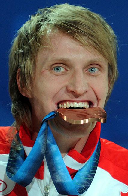 Russia's Ivan Skobrev with the bronze.