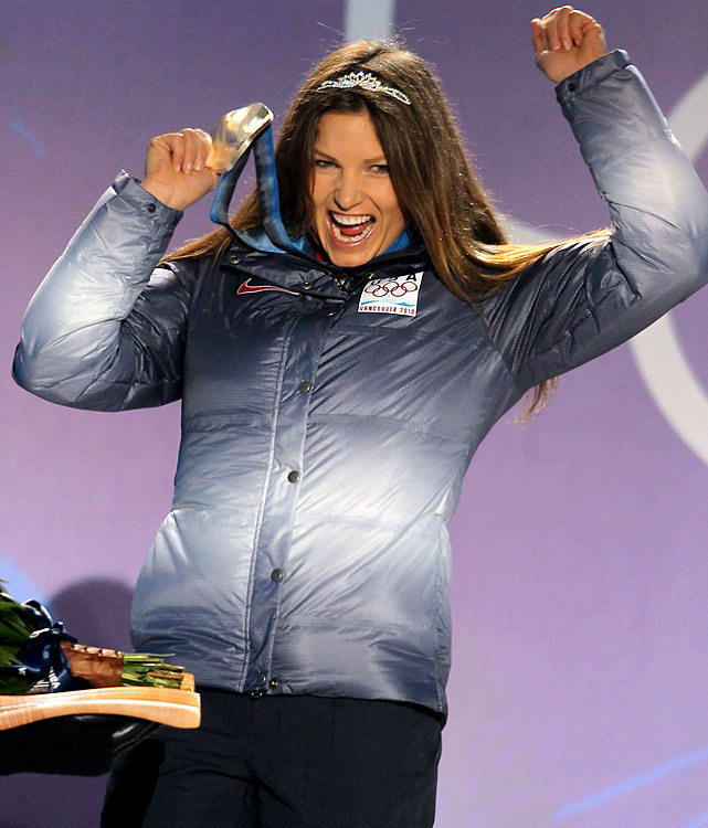 Julia Mancuso of the U.S. celebrates after receiving her silver medal.
