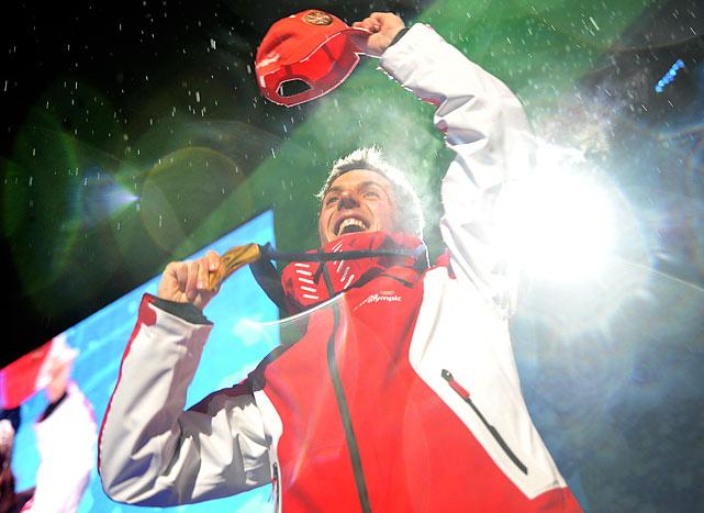 Gold medalist Simon Ammann of Switzerland.