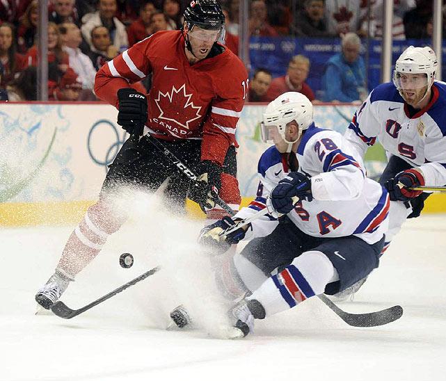 Brian Rafalski scored just 41 seconds into the U.S.-Canada game, then he scored again later in the period.