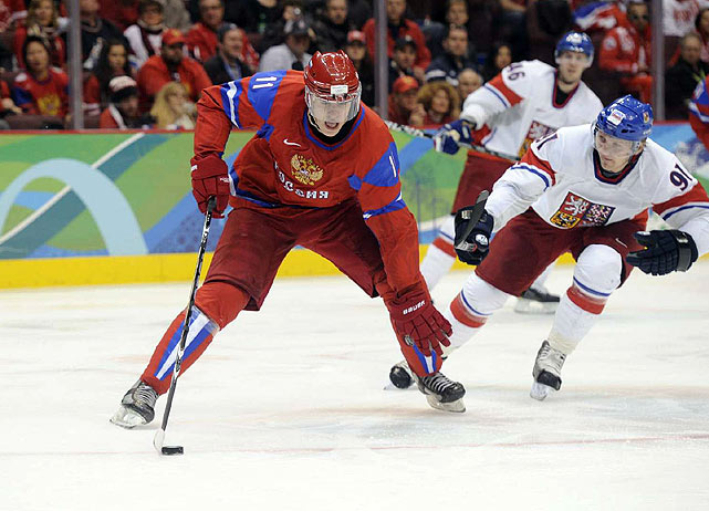 Evgeni Malkin scored twice for Russia and Ovechkin had two assists.