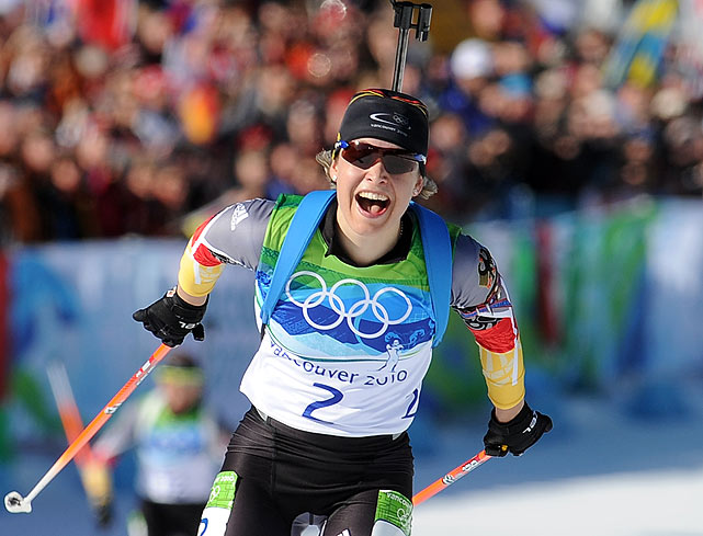 Germany's Magdalena Neuner won her second gold medal of these games, this time in the 12.5K mass start biathlon.