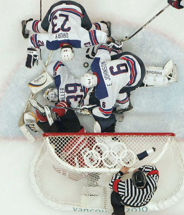 Ryan Miller made 42 saves to help the U.S. hockey team upset Canada 5-3 for its biggest win since the famous Miracle on Ice.