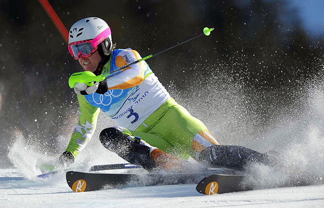 Defending champion Ted Ligety jumped from 15th to fifth in the super-combined with the fastest time in the slalom.
