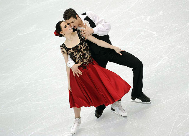 Canada's Tessa Virtue and Scott Moir won the original dance Sunday, taking a 2.60 lead into Monday night's free dance. Her dress, with its ruby-red skirt and lacy black bodice, was gorgeous. Made for a good prop, too, as she flipped it around to the beat of the music.