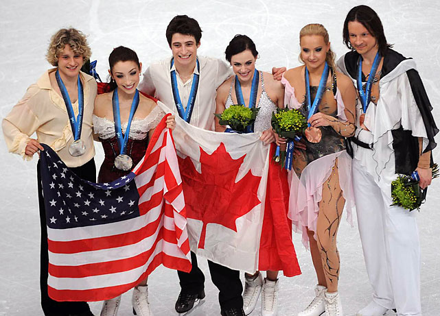 Ice dance medalists (from left) Charlie White, Meryl Davis, Scott Moir, Tessa Virtue, Maxim Shabalin and Oksana Domnina