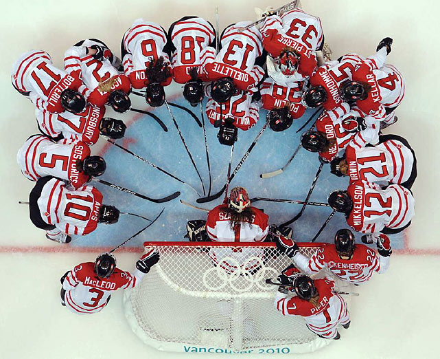 Team Canada on ice before its 5-0 victory over Finland.