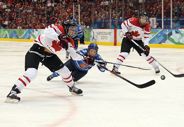 Meghan Agosta set an Olympic record with her ninth goal, and Canada raised its margin of victory for the tournament to 46-2 in defeating Finland.