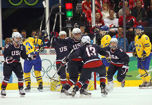 Monique Lamoureux recorded a hat trick and Caitlin Cahow, Karen Thatcher and Kelli Stack each had a goal and an assist as the United States blasted Sweden 9-1 in the Olympic semifinals. Team USA will face Canada, which blanked Finland 5-0, Thursday for the gold medal.