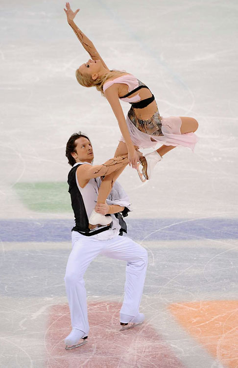 World champions Oksana Domnina and Maxim Shabalin of Russia won the bronze. The Russians could go home without winning at least one skating event for the first time since 1960.