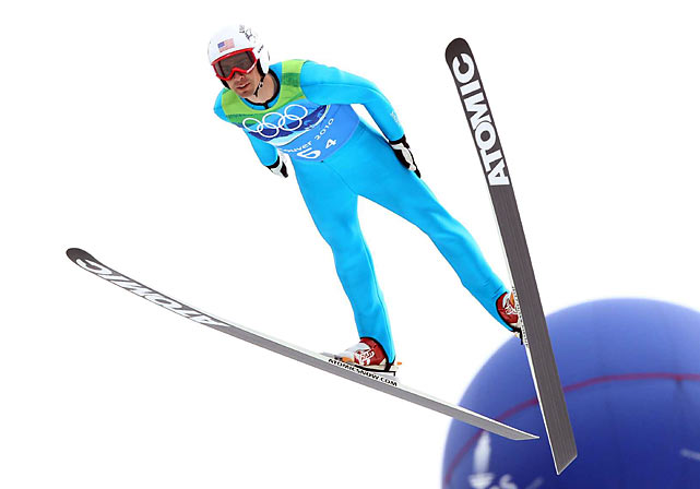 Johnny Spillane of the U.S. in the ski jump portion of the event.