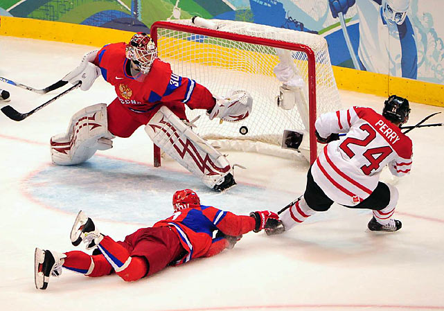 Corey Perry upstaged Russia's big-name forwards with two goals.