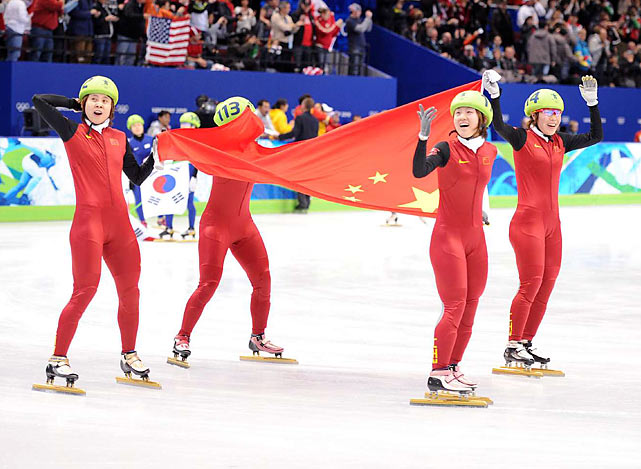 China won the women's 3,000-meter relay short track speedskating final after four-time defending champion South Korea was disqualified for clicking skates with China just after an exchange with five laps to go.